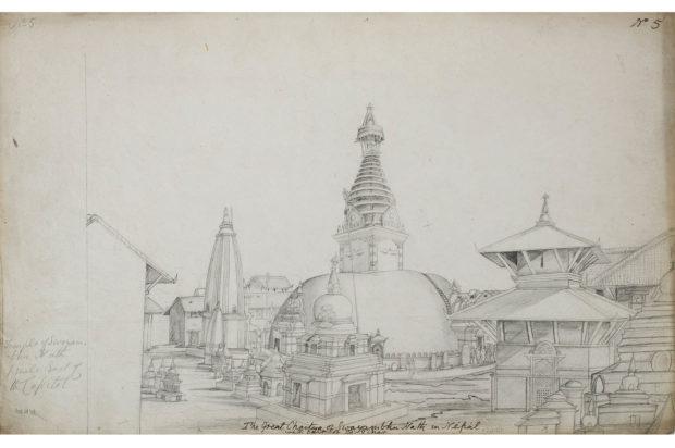 The stupa of Svayambunath, Kathmandu.
