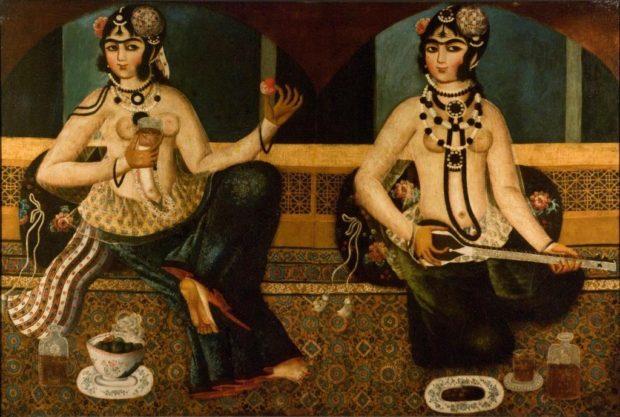 [RAS 01.002] A Qajar painting of two ladies