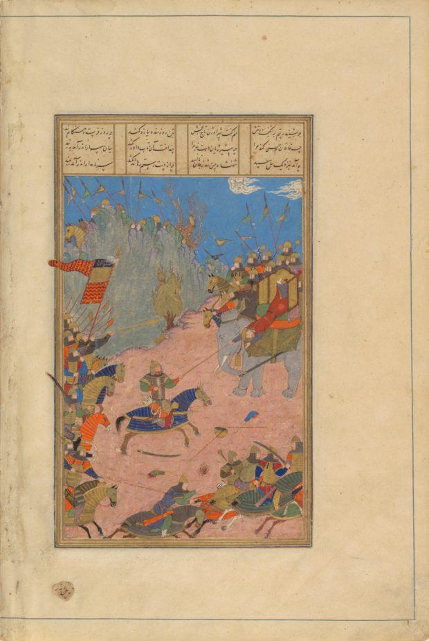 [RAS Persian 239, 155b] Rustam drags the Khaqan from his elephant