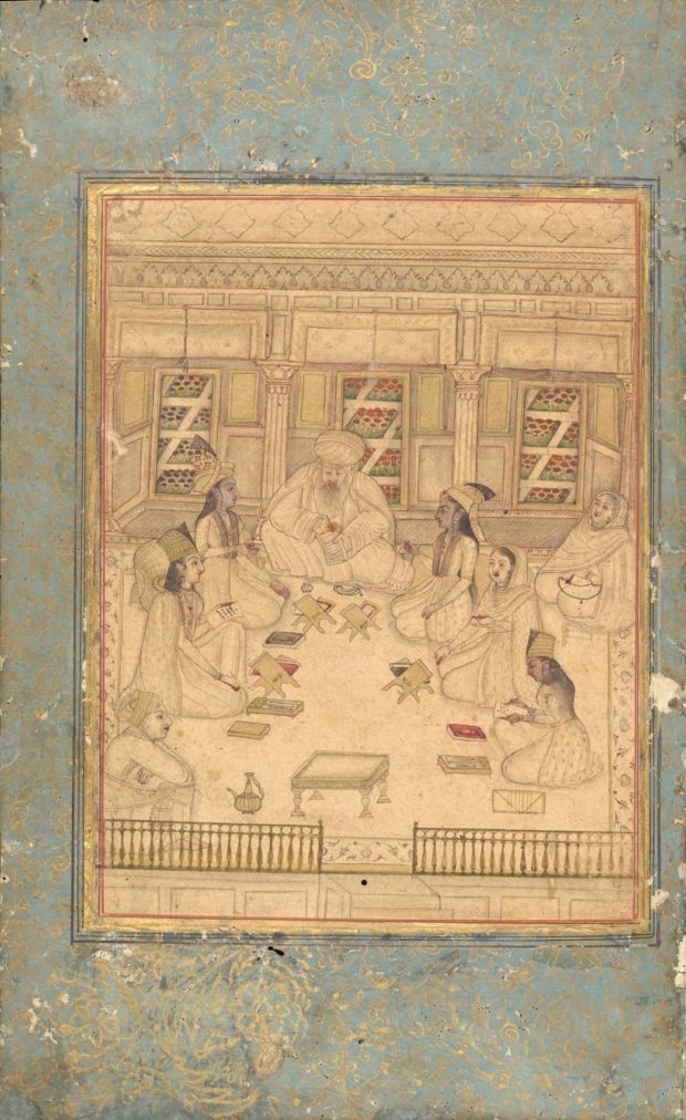 [RAS Persian 258, 3b] Mughal drawing showing a bearded and turbaned teacher with a class of female students and attendants