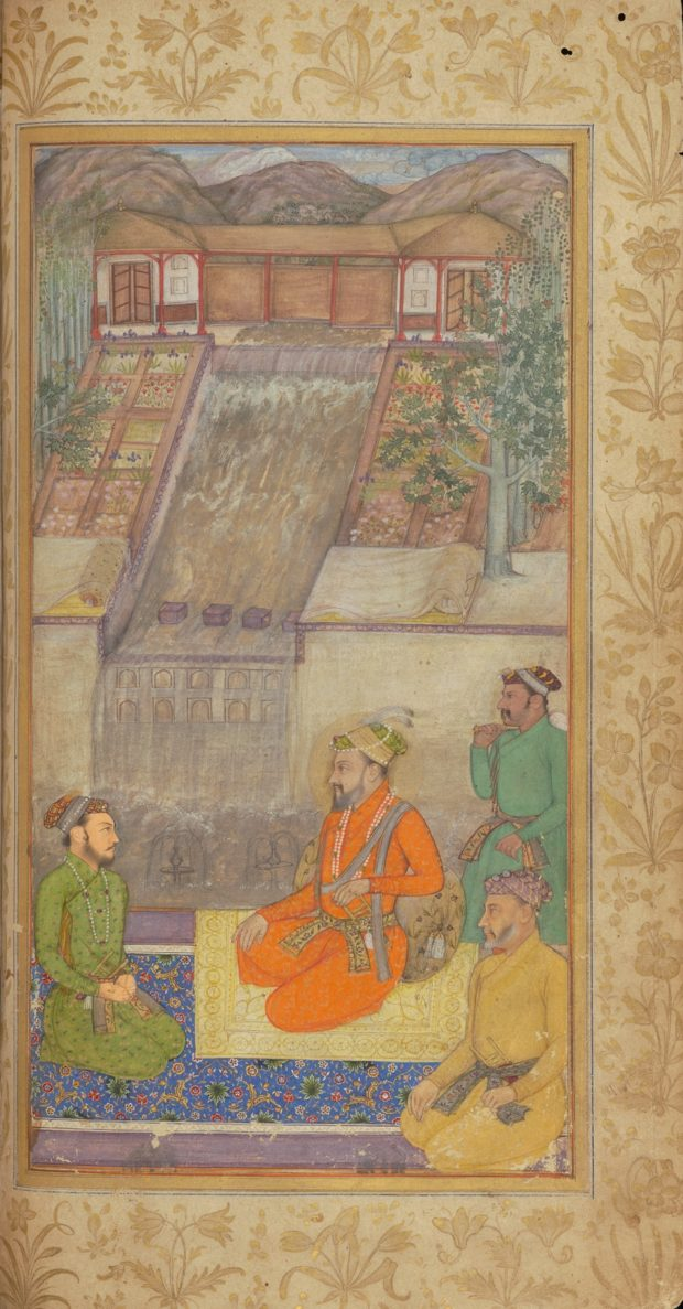 [RAS Persian 310, 15b] Shah Jehan seated with Dara Shikoh and Asaf Khan with five courtiers