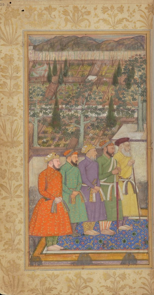 [RAS Persian 310, 16a] Five courtiers with Shah Jehan seated with Dara Shikoh and Asaf Khan