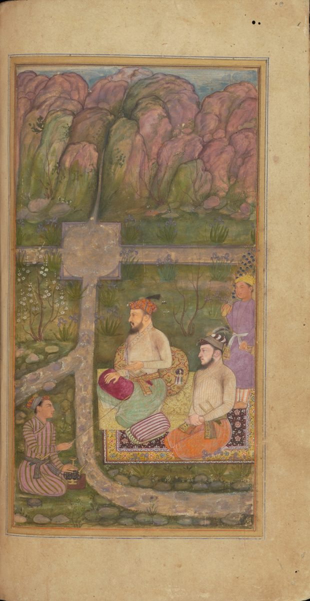 [RAS Persian 310, 22b] Zafar Khan and his brother, Khorshid Nazar reclining by a stream