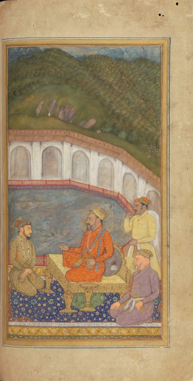[RAS Persian 310, 25b] Shah Jehan, Dara Shikoh, Asaf Khan and four nobles on a terrace overlooking a tank