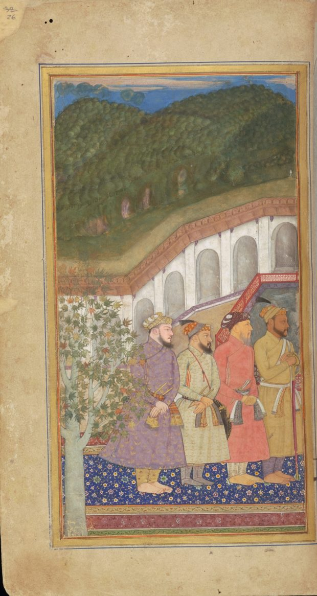 [RAS Persian 310, 26a] Four nobles with Shah Jehan, Dara Shikoh, and Asaf Khan on a terrace overlooking a tank
