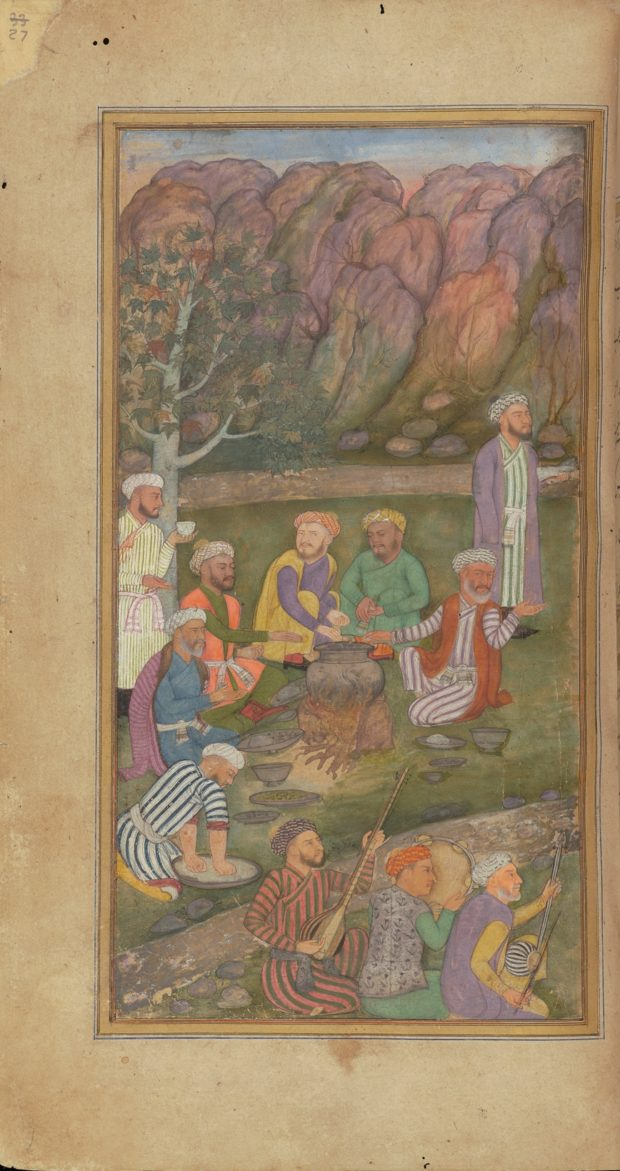 [RAS Persian 310, 27a] Zafar Khan with musicians outdoors
