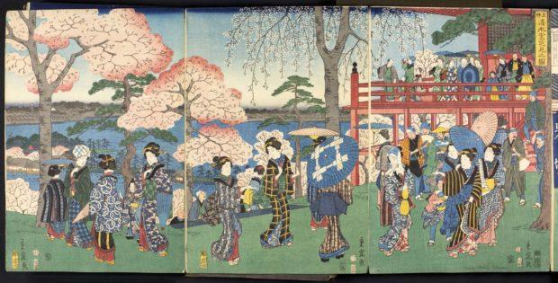 [RAS 077.001, 034-036] Blossom-viewing at the Sansuido temple, Uyeno